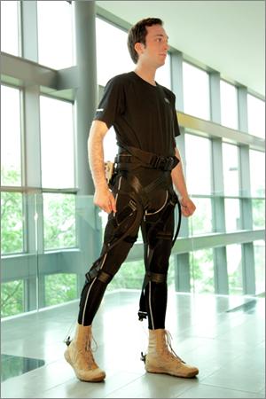 man wearing soft exosuit